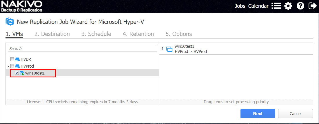 Selecting an individual Hyper-V virtual machine for replication