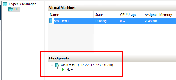 Hyper-V Backup Strategy: Hyper-V virtual machine checkpoint in place