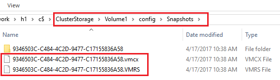The Snapshots folder for Hyper-V checkpoints