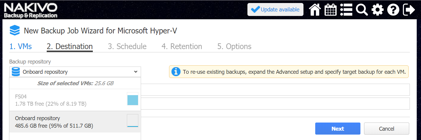 Choosing a backup repository for Hyper-V backup