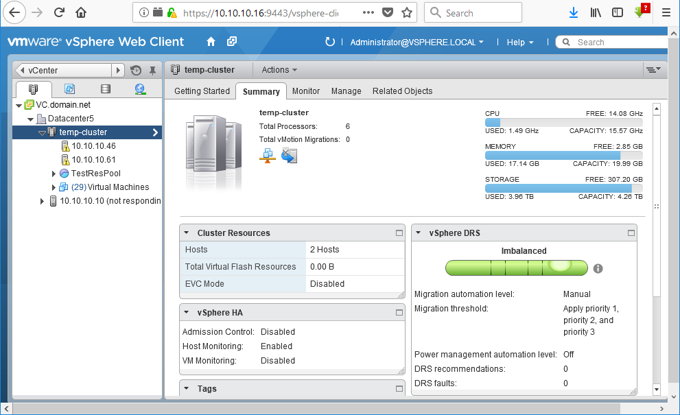 Viewing the summary of a VMware DRS cluster with vSphere Web Client