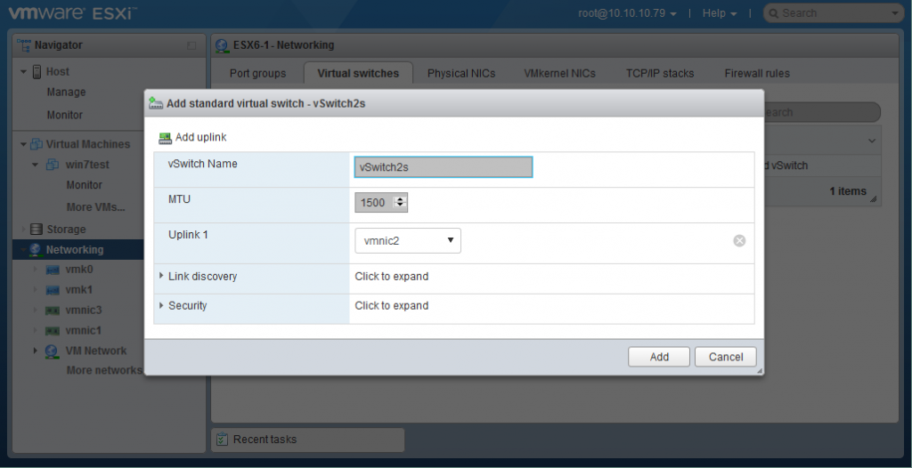 Adding a standard VMware virtual switch