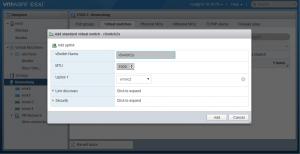 Adding a standard VMware virtual switch