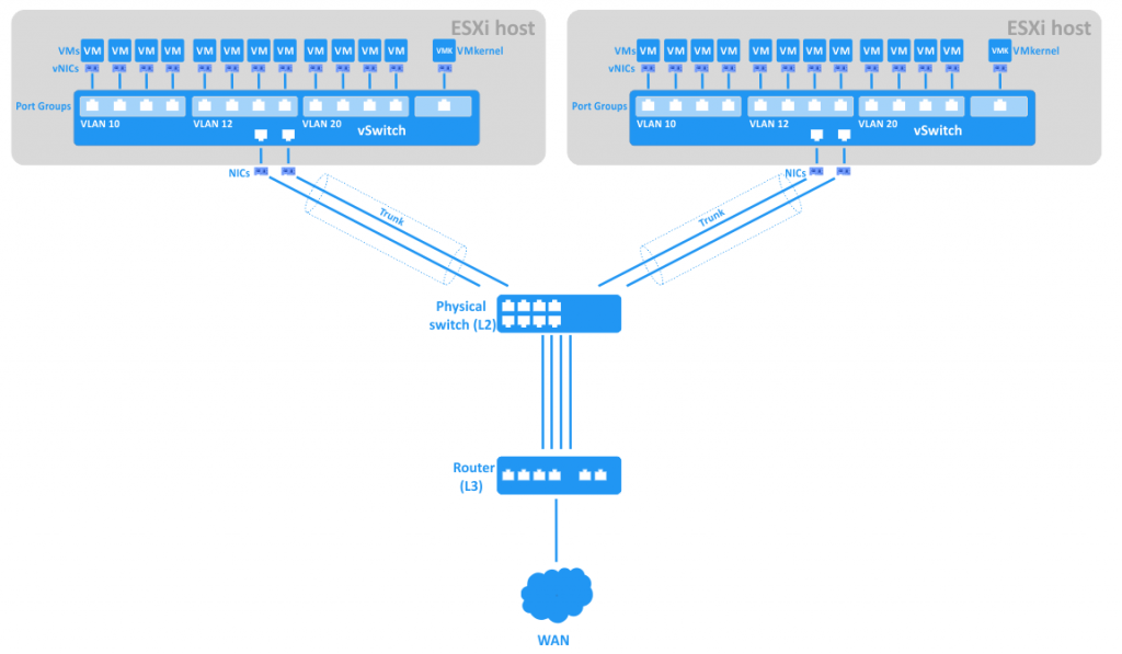 Connection of port groups with VLAN IDs