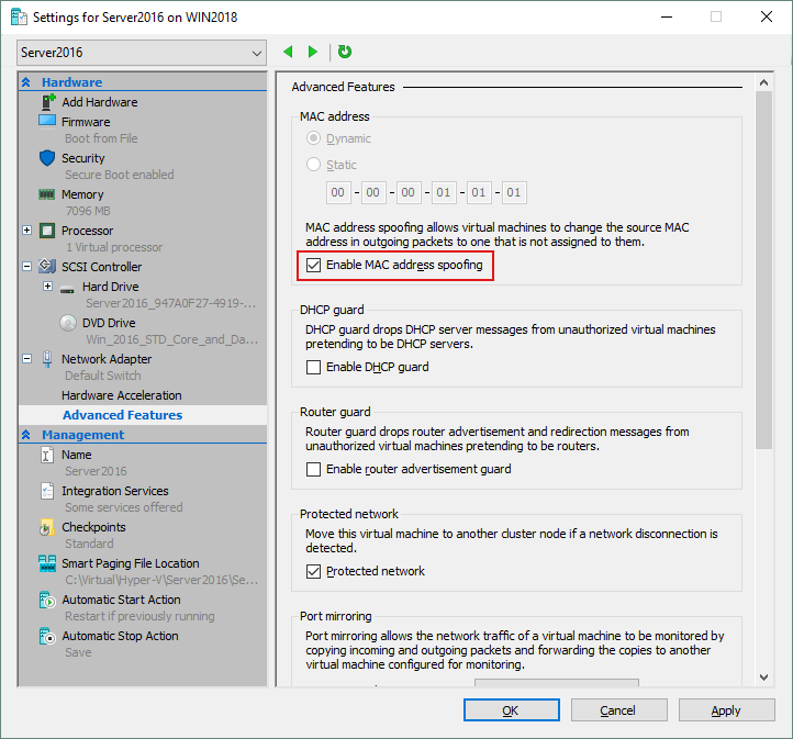 Enabling MAC address spoofing for a VM using Hyper-V Manager.