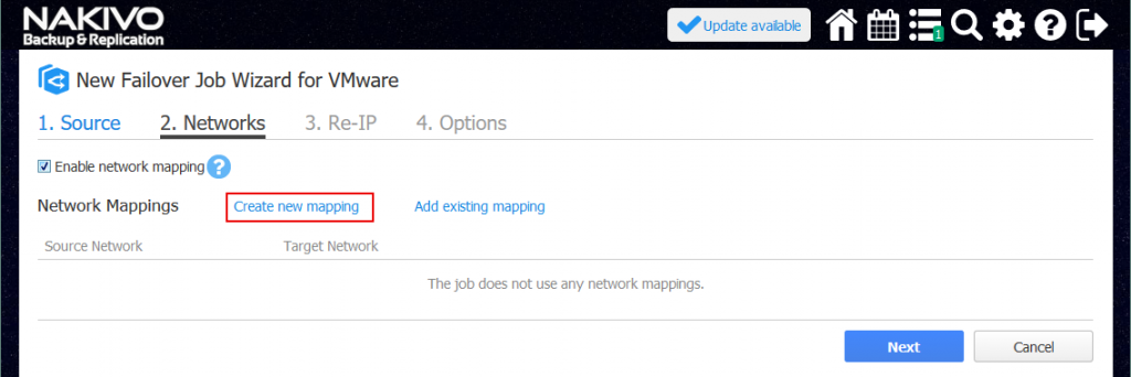 Enabling network mapping for VM failover