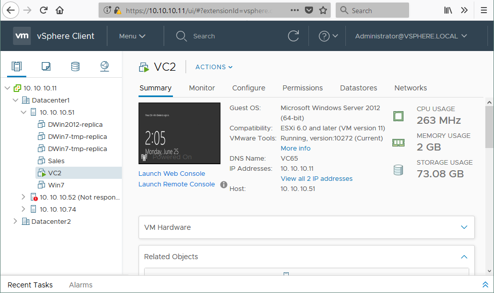 Accessing vCenter with vSphere Web client
