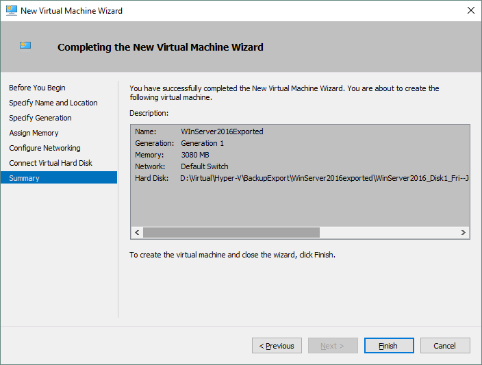 Checking the summary before new Hyper-V VM creation