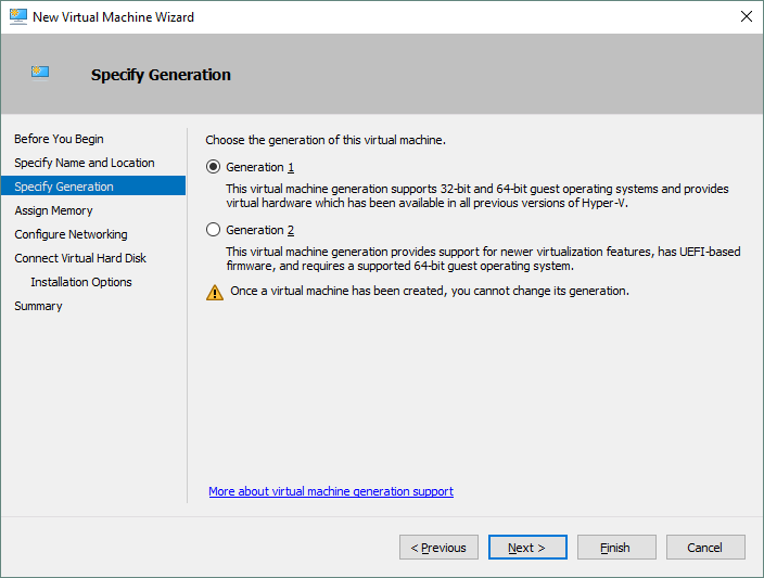 Choosing the generation for the new Hyper-V VM.