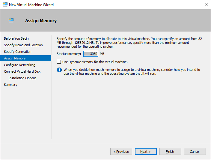 Configuring memory for the new Hyper-V virtual machine