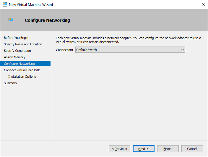 Configuring the new Hyper-V VM networking.