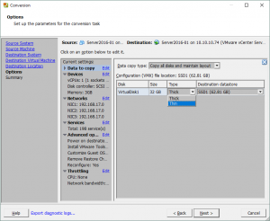 Configuring the virtual disk provisioning type