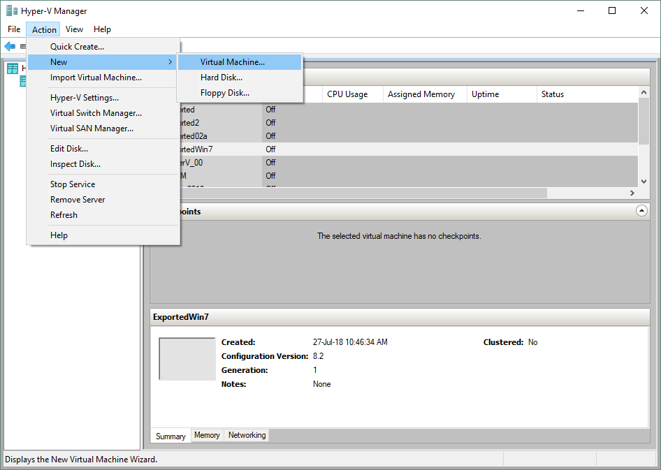 Creating a new VM in Hyper-V Manager for attaching a virtual disk