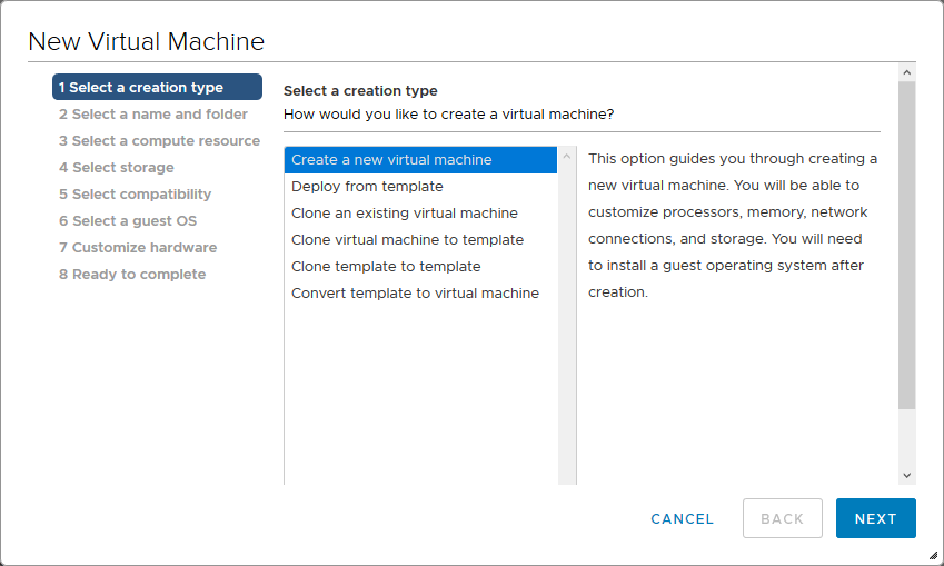Creating a new VM with the vCenter New Virtual Machine wizard