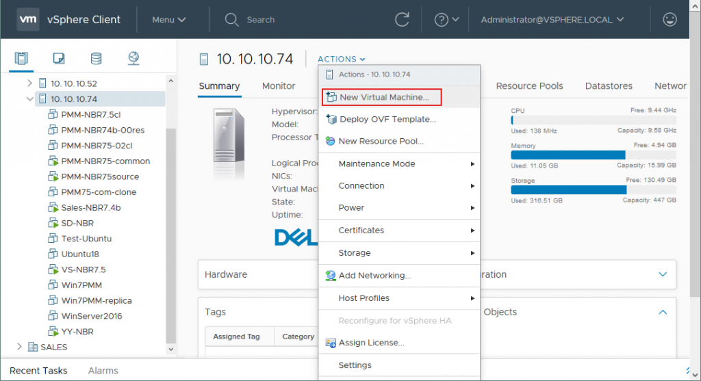 Creating a new virtual machine on the ESXi host with vSphere client