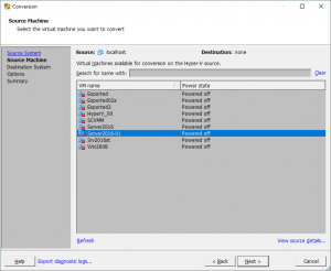 Selecting a Hyper-V virtual machine for conversion to the VMware platform