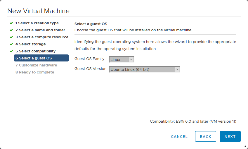 Selecting a guest OS version.