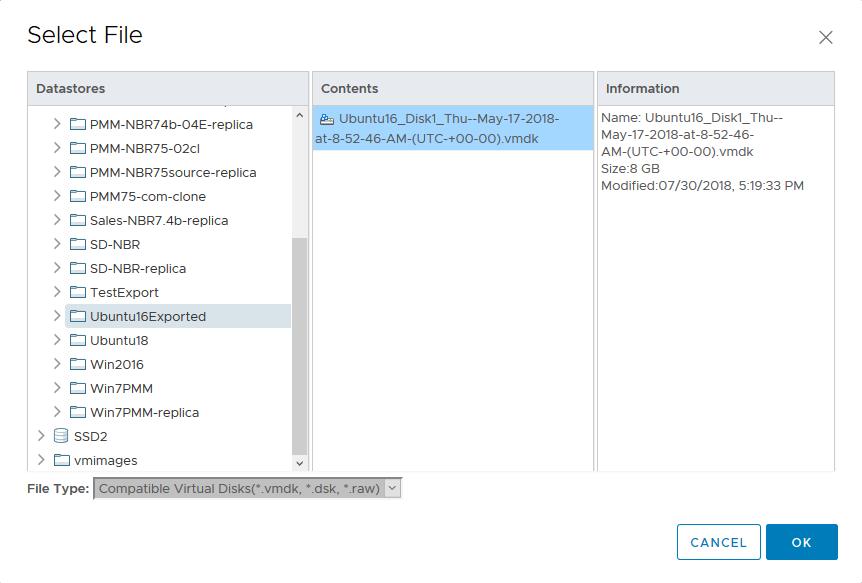 Selecting the virtual hard disk exported with NAKIVO Backup & Replication