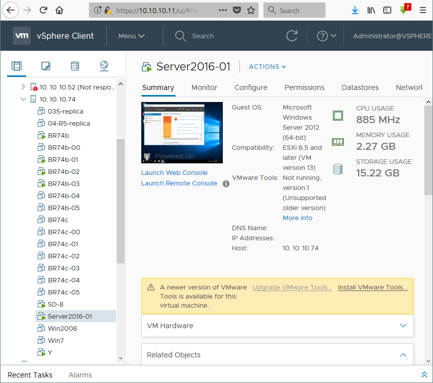 The converted VM is running on the ESXi host