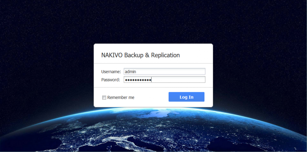 Accessing the web interface of NAKIVO Backup & Replication that is installed on NETGEAR ReadyNAS.
