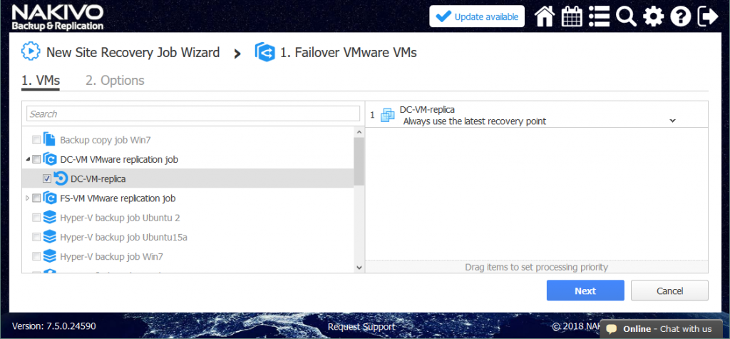 Choosing the VM for a failover action in the framework of site recovery