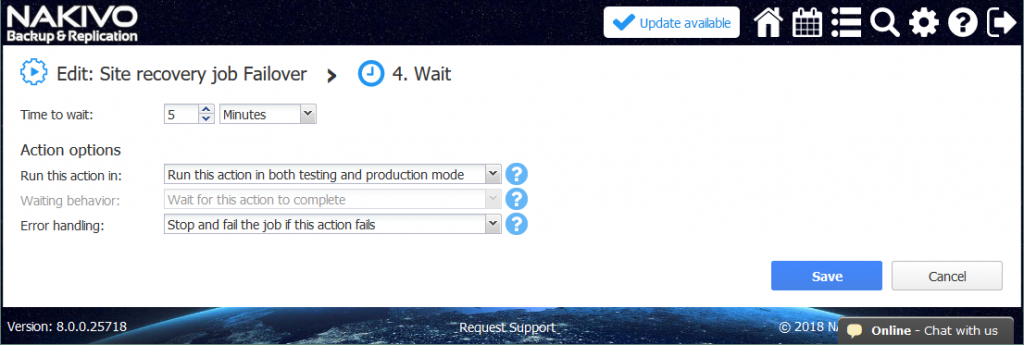 "Configuring the time to wait and the other ""Wait"" action options."