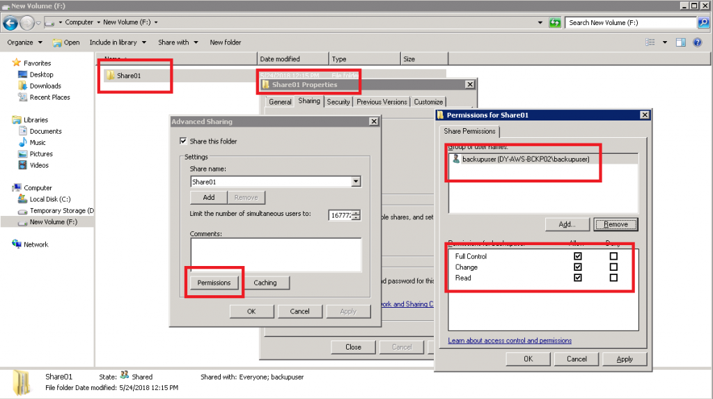 Create SMB share on a new logical disk