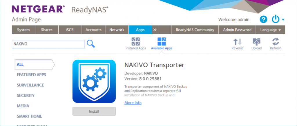 Finding NAKIVO Backup & Replication in the list of available applications