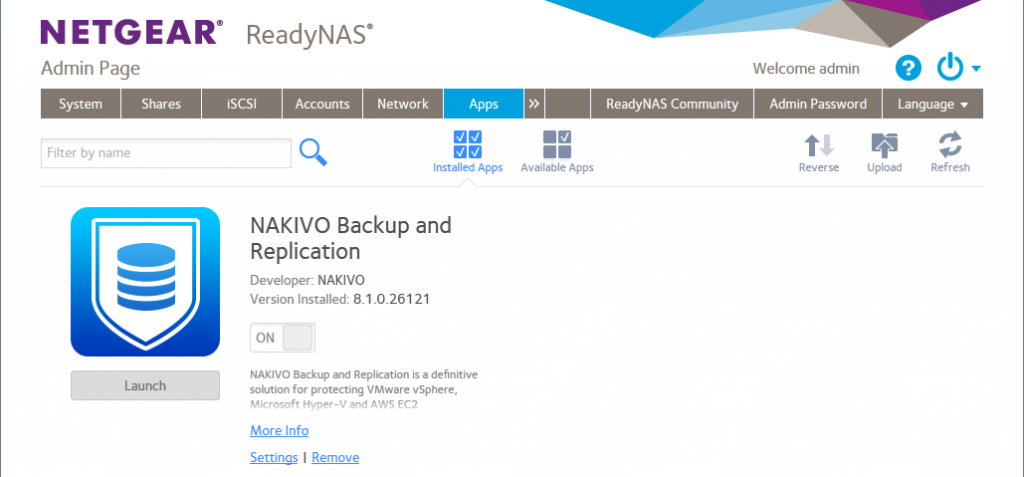 NAKIVO Backup & Replication is installed on NETGEAR ReadyNAS