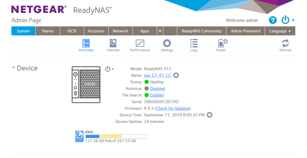 The web interface for managing NETGEAR ReadyNAS
