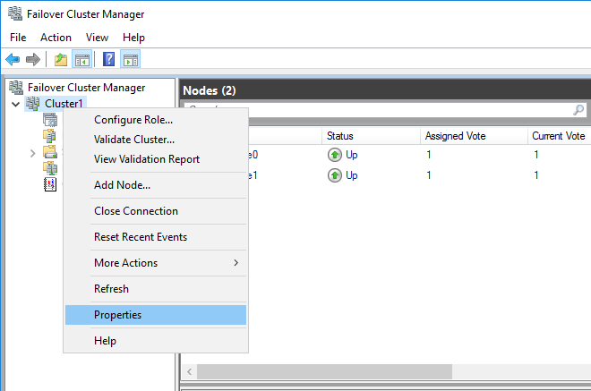 Configuring cluster properties in the Failover Cluster Manager window