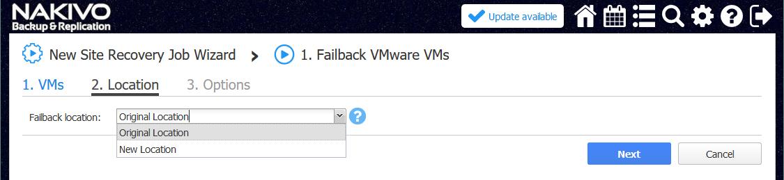 Selecting location for failback.