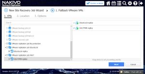 Selecting the virtual machines for failback