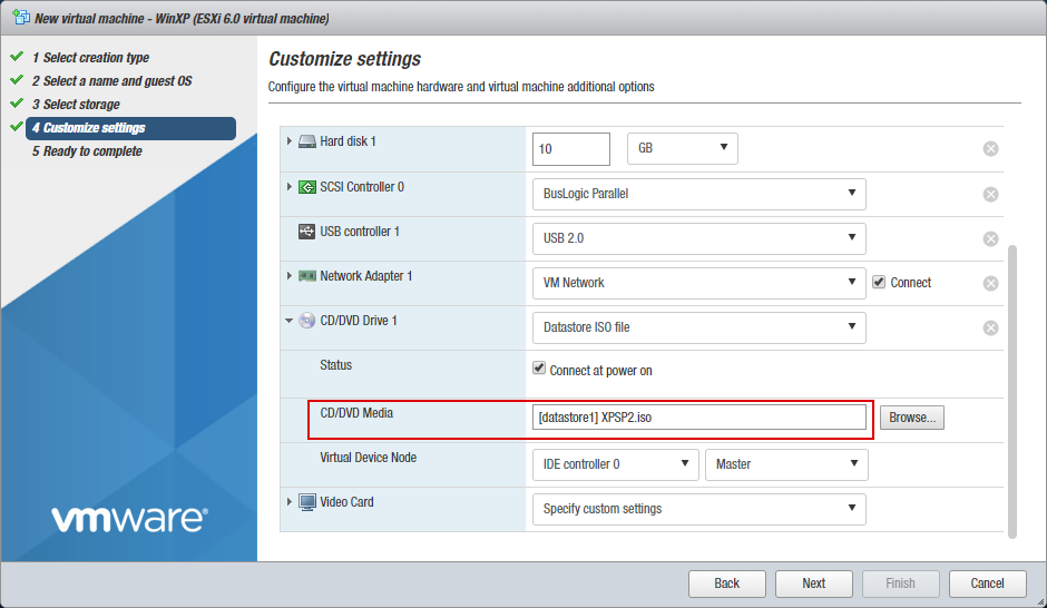 A virtual CD-DVD drive is configured to use a datastore ISO file as installation media