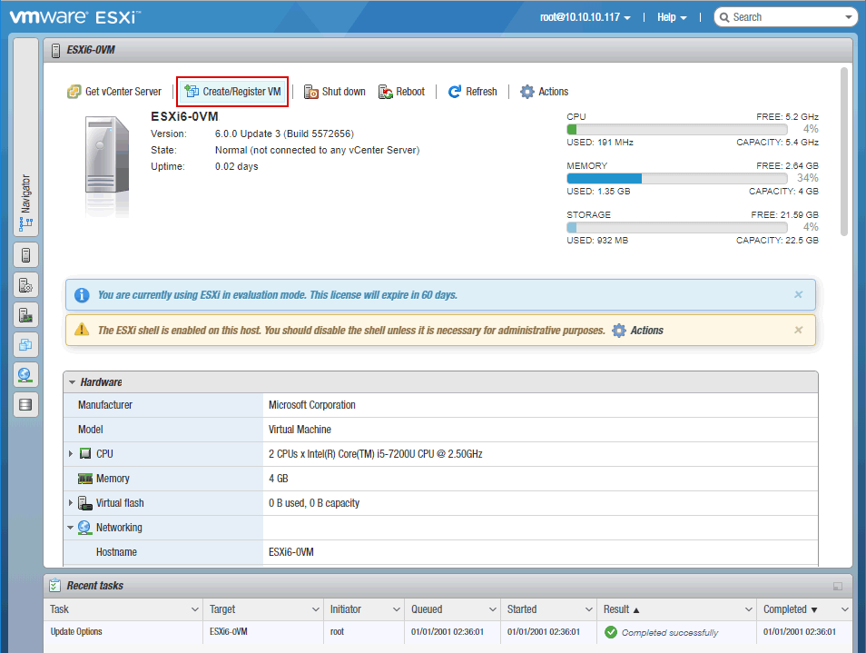 Accessing the web interface with ESXi settings