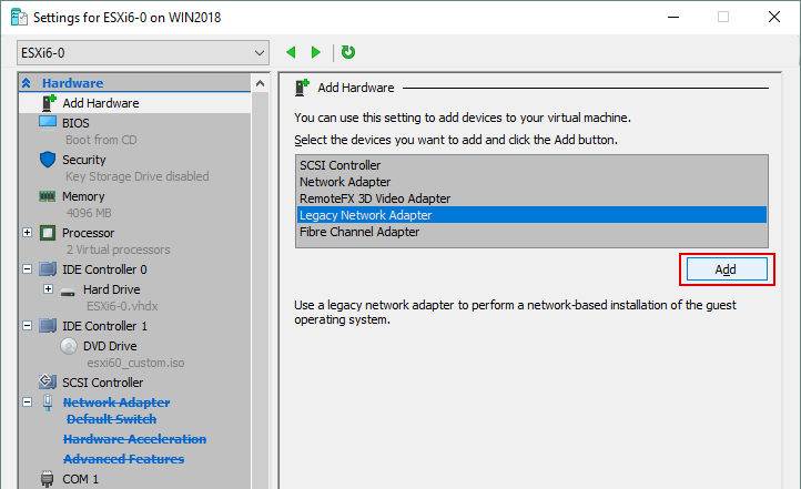 Adding a legacy network adapter for a Hyper-V VM