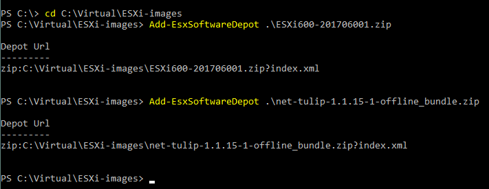 Adding offline software depots to the current PowerCLI session