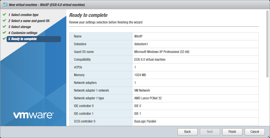 Checking the settings before finishing the new VM creation wizard