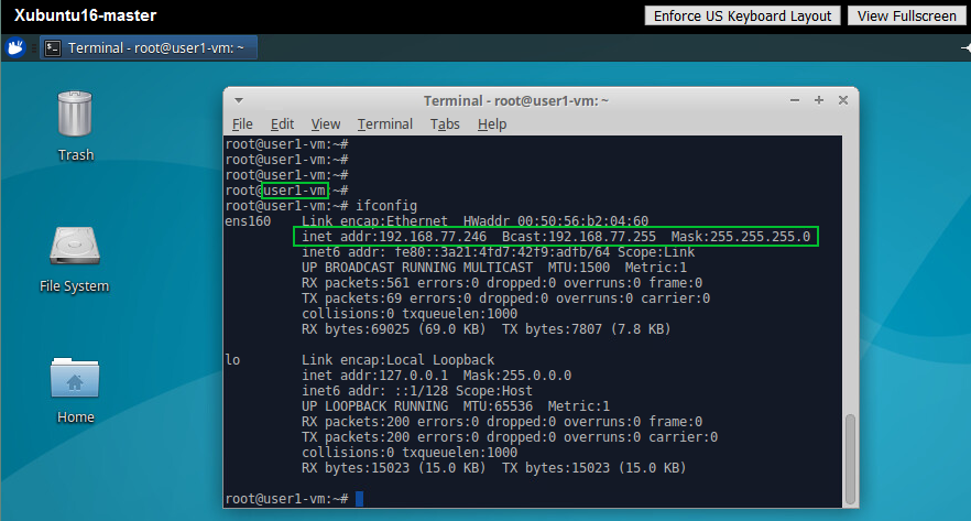 Checking the settings of the network interfaces used by a Linux VM