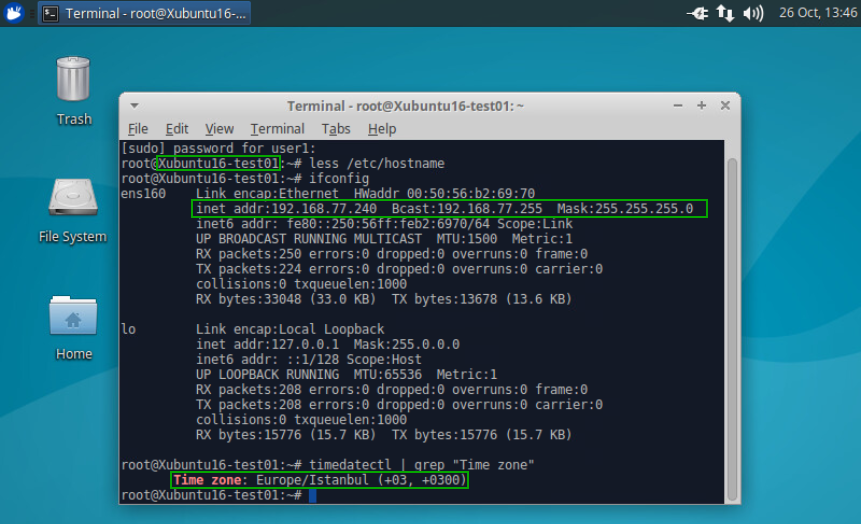 Checking the settings that were applied to a VM with Linux after using guest OS customization specification.