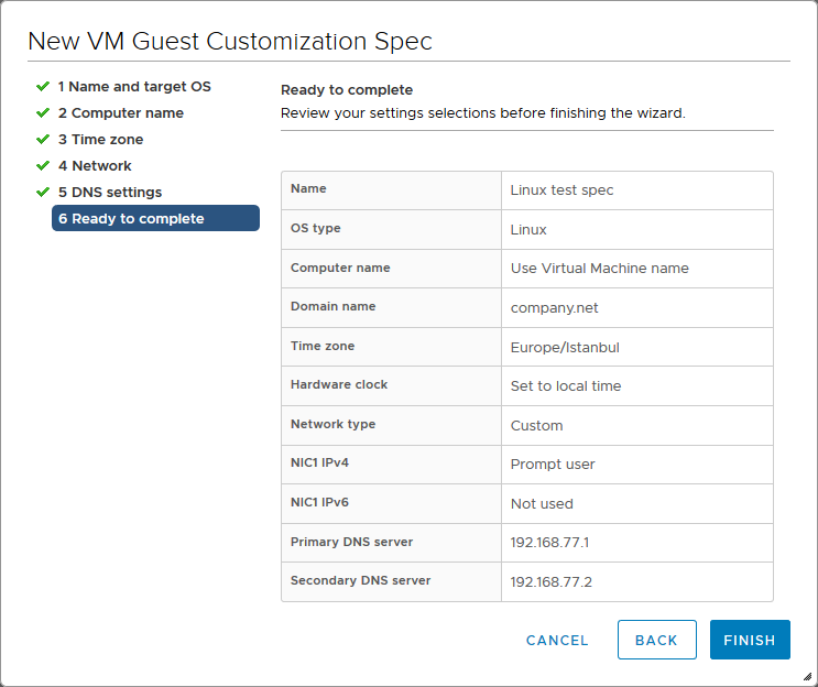 Checking the summary of settings used for a guest OS customization specification