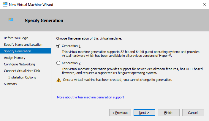 Choosing the generation for a Hyper-V VM