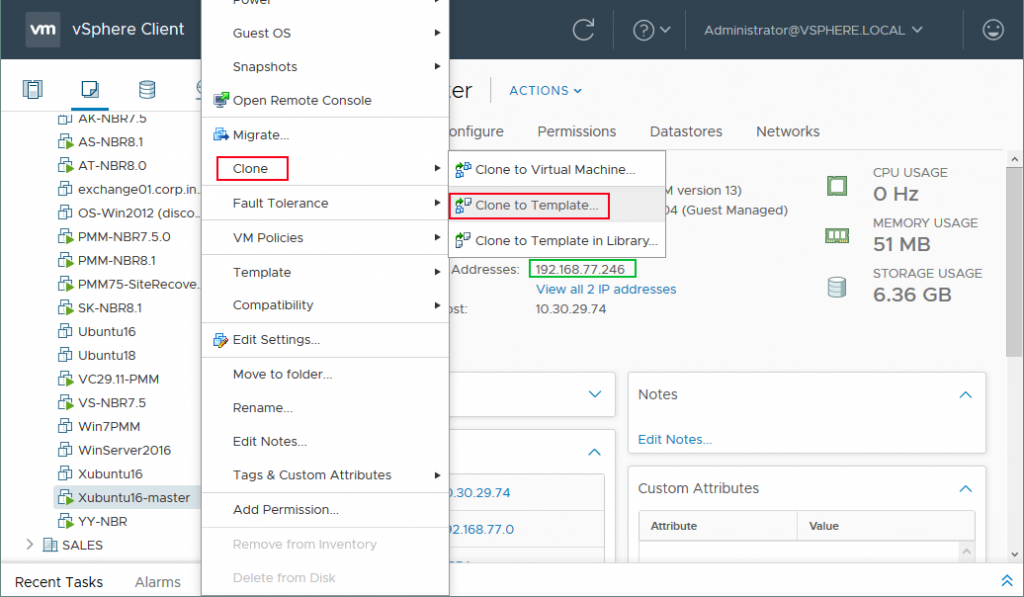 Cloning a VM to a template with vSphere Web Client