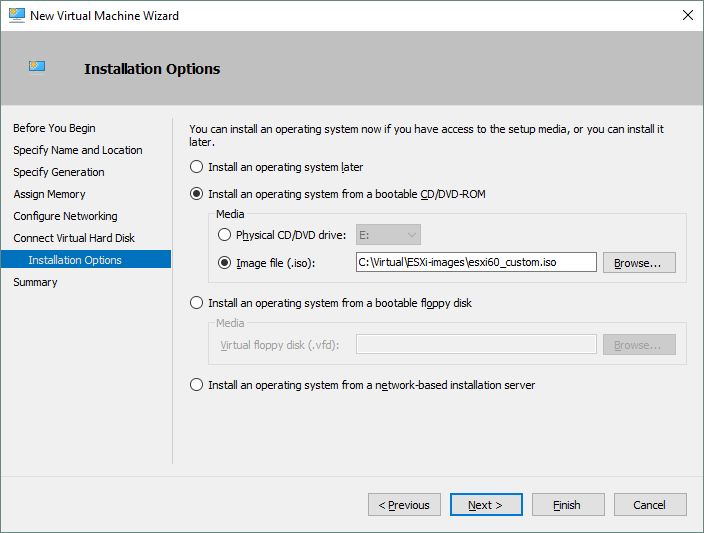 Configuring VM installation options and selecting the ISO installation image