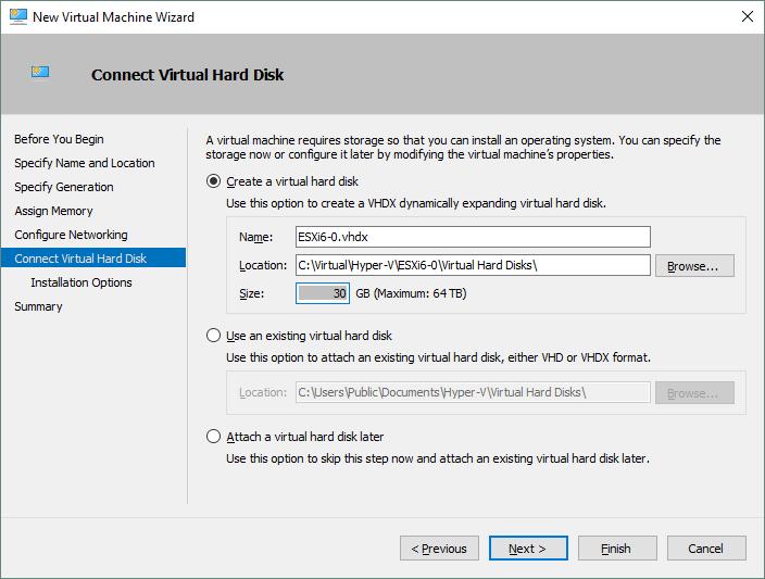 Configuring a virtual hard disk for a new Hyper-V VM