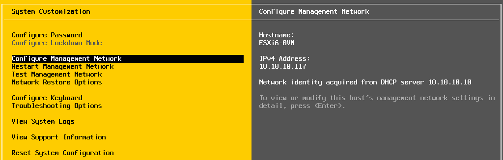 Configuring management network on an ESXi host