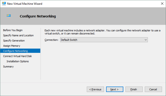 Configuring networking for the Hyper-V VM that is being created