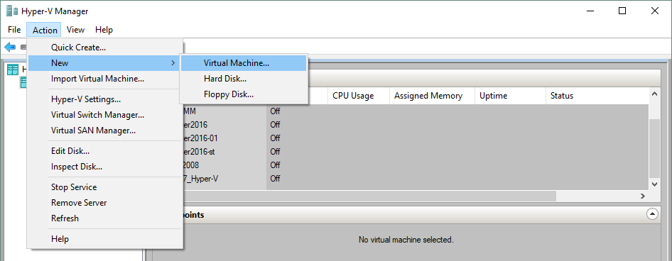 Creating a new Hyper-V virtual machine in Hyper-V Manager