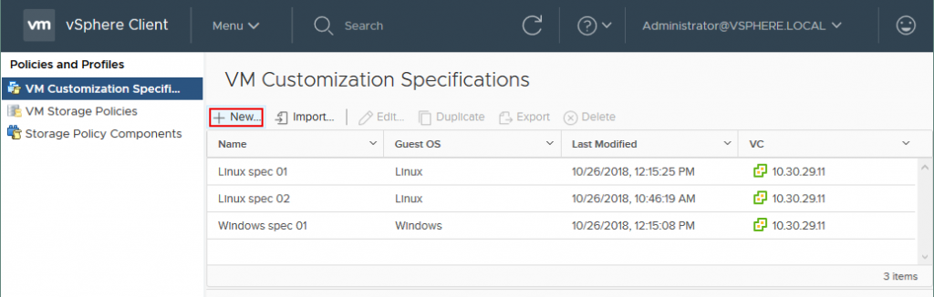 Creating a new VM customization specification