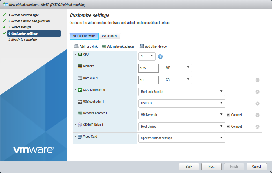 Customizing VM settings and configuring a virtual CD-DVD drive
